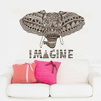 Wall Decal Vinyl Sticker Decals Art Home Decor Murals Indian Elephant Ganesh Om Imagine Mandala Tribal Karma Yoga Bedroom Dorm Decals AN225