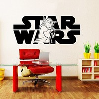 Wall Decal Vinyl Sticker Decals Art Home Decor Murals Star Wars Logo Yoda Children Nursery Room Bedroom Office Window Dorm AN238