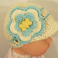Crocheted  Yellow Hat with Flower and Bib-Cotton-Baby Shower Gift-Newborn to 5T--#383