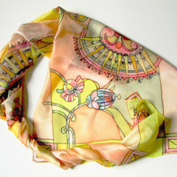 Yellow summer silk scarf ponge multicolored flowers ornament - painted on ponge silk