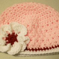 Crochet Beanie Hat-Pink with White Flower-Baby Shower Gift---#342