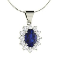 Sapphire & Diamond Necklace in Platinum | 1.36 ct. tw. | Oval Cut | Unique Pendant | Efia | Diamondere