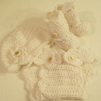 White Baby Gift Set-Boots-Diaper Cover and Hat--Baby Shower Gift--#146
