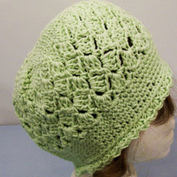 Women's Green Cotton Slouch Style Hat -Crochet-#22