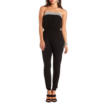Diamante-Studded Strapless Jumpsuit by Charlotte Russe - Black