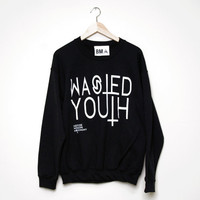 WASTED YOUTH Inverted Cross Crewneck Sweater by BMA Large