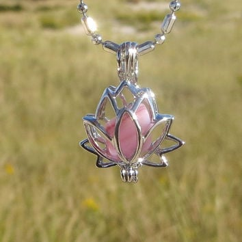 Pink Frosted Sea Glass Lotus Locket Necklace by Wave of LIfe