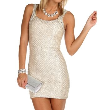 Gold Jewel and Bead Lurex Dress
