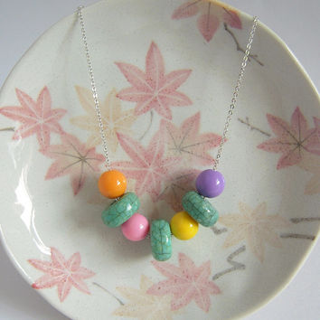 Rainbow Necklace Colorful Bead On Silver Chain