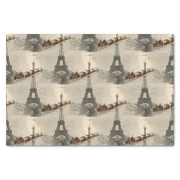 Vintage Santa over Paris Christmas Tissue Paper