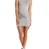 Knotted Asymmetrical Tank Dress by Charlotte Russe - Heather Gray