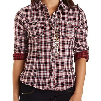 Mixed Plaid Button-Up Top by Charlotte Russe - Burgundy Cmb