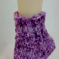 Extra Thick Slipper Socks - Pink & Purple House Socks - Ankle Warmers