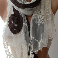 Brown / Elegance Shawl / Scarf with Lace Edge-