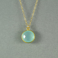 Aqua Blue Chalcedony Necklace, Gold Vermeil Bezel, 14K Gold Fill Chain, Beautiful Stone Jewelry