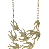 Gold Swallows Statement Necklace