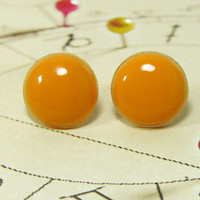 Peach Stud Earrings - Peach Orange Ear Post - Peach Studs - Resin Round Post Studs - Shiny Posts - Studs Earrings Jewelry