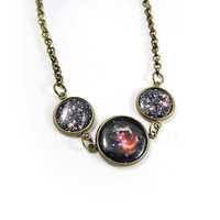 Galaxy Necklace - Planet Jewelry - Space Necklace - Glitter Red Black - Free Worldwide Shipping
