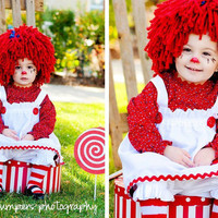 Baby Hat, Look Like Raggedy Ann wig, Halloween, Photo Prop, Costume