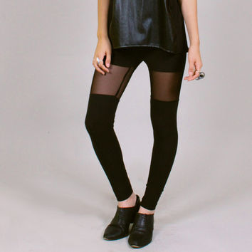 Sheer black faux thigh hi leggings