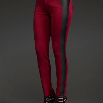 Faux Leather Side Panel Pants