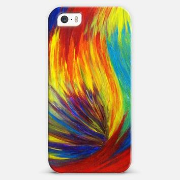 RAINBOW EXPLOSION - Bold Multicolor Neon Ocean Waves Splash Colorful Swirls Pride Happy Whimsical Water Red Purple Yellow Blue Abstract Painting iPhone 5s case by Ebi Emporium | Casetify