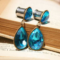 Vintage rhinestone Plugs Vintage blue and brass rhinestone earrings OOAK One of a Kind 7/16&quot;