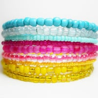 Stacked Bracelet Turquoise Pink and Yellow Memory Wire Beaded Wrap Color Block Summer Fashion