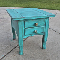Cancun Blue Side, End Table /Distressed Glazed Furniture /Decorative Knobs/ Distressed Bedroom Furniture /Tv Stand