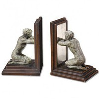 Uttermost Mirror Image Bookends Statues in Antiqued Gold - Set of 2 - 20482