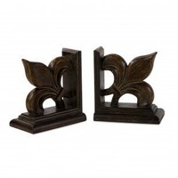 IMAX Fleur-De-Lis Bookend in Mahogany Brown (Set of 2) - 47074-2