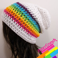 Slouchy Beanie Crochet Hat in White and Rainbow Stripes