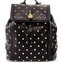 Alexander McQueen Studded Skull-Padlock Backpack, Black