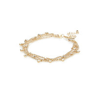River Island Womens Gold tone crystal drop anklet