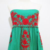 Mexican Hand Embroidered Cotton Strapless Sundress in Green