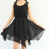 Little Black Dress Chiffon Party Dress - Romantic Ruffle Cocktail Dress - Girl Short Prom Dress