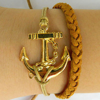 Golden Anchor Jewelry Bangle bracelet minimalist bracelet Men or Women Soft Brown braided Leather Bracelet