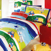 Custom Twin Size Dark Blue, Red Yellow Green Cars, Trucks Printed  Kid Bedding Set 4pcs