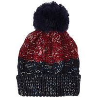 River Island MensDark red color block cable beanie hat