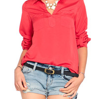 Breast Pocket Open Lapel Blouse