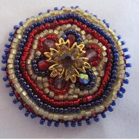 Beaded Swarovski Red Hat Pin
