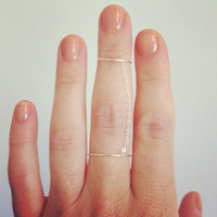Dainty double chain ring - sterling silver wire and chain