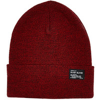 River Island Boys light red rolled up beanie hat