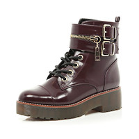 River Island Womens Dark red patent chunky biker lace up boot