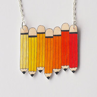Orange Pencils Necklace - Made To Order
