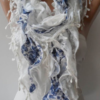 White and Blue Lace and Cotton Scarf - Summer Colors - Trendy