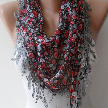 ON SALE - Red and Grey Flowered Chiffon Scarf with Grey Trim Edge - Triangular