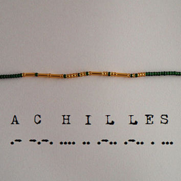 Achilles Morse Code Bracelet Dark Green and by ameliamorse