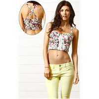 Floral Print Front Zipper Bralet WHITE