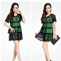 Plus Sizes! [Lg To 4 X] Sexy Green & Black Lace Dress. Ae 724438. World Wide Shipping! **New Lower Price!** - Dresses | RebelsMarket